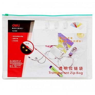 """[2]得力拉链袋5526 文件袋 透明塑料<strong style=""""color:red;"""">文具</strong>袋 a4公文袋 拉边袋 资料袋"""