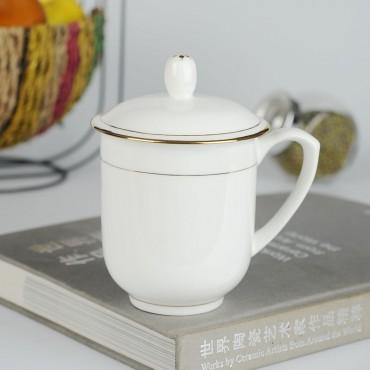 骨瓷黄金手绘杯子喝茶...